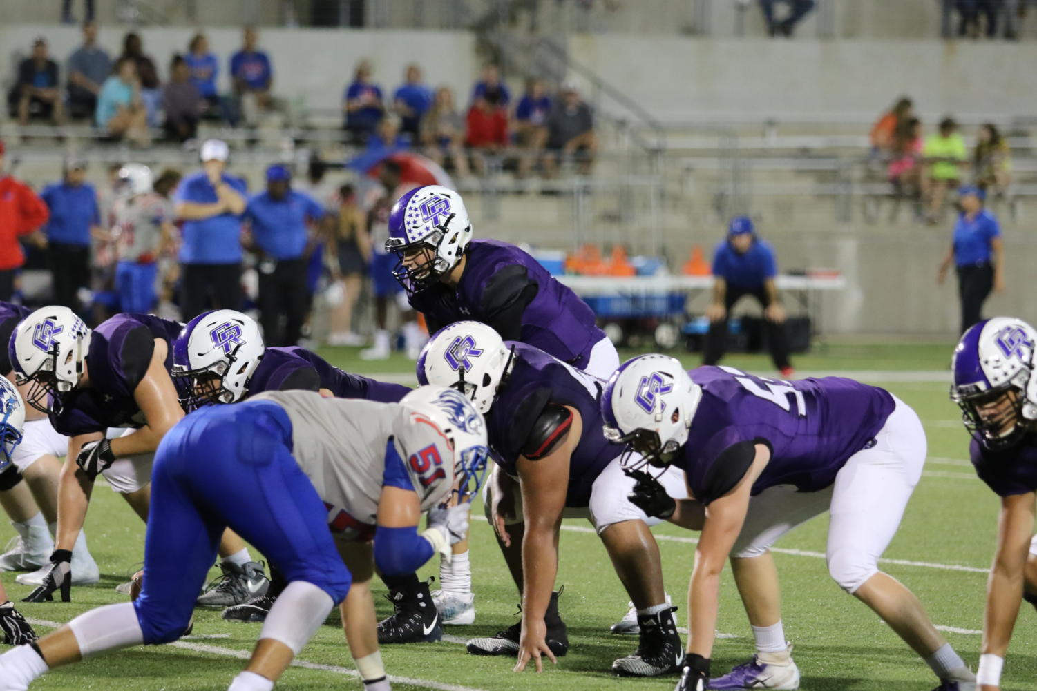 The Cedar Ridge offense lines up against the Leander Lions on September 21st, 2018. The Raiders won 63-21.