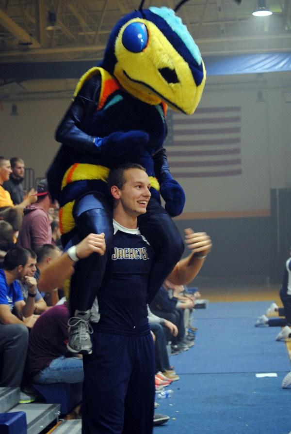 Cedars | Cheerleader and Yellow Jacket Mascot