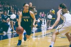 Freshman Regina Hochstetler dribbles around her opponent, Kaysie Brittenham. (Photo: Jillian Philyaw)