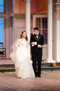 "Emma Kowatch and Caleb Curby play the lead roles in Cedarville's fall production, ""Father of the Bride,"" which runs Oct. 1 to Oct. 11. (photo: Jennifer Gammie)"
