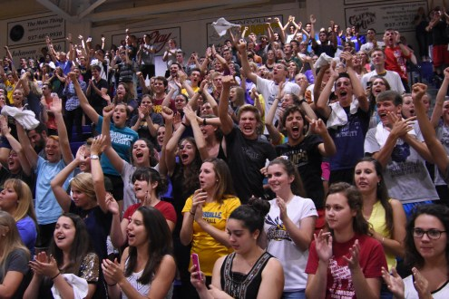 The CU student section goes crazy after the Lady Jacket volleyball team takes the victory. It was a long fought battle between the Jackets and the Greyhounds from the University of Indianapolis. Cedarville took home the victory after taking the game to five sets.