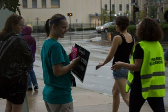 Pro-life mingles with pro-choice at Cleveland State University's Wolstein Center to protest the free abortion rights concert on Saturday, Sept. 10.