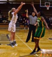 Ellie Juengel takes a three-point shot (Photo: Allyson Weislogel).