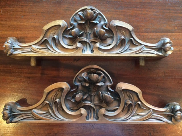 This carving is the accent piece on an armoire. The matching bed was missing its accent piece, so Cedars Woodworking recreated the original, using our CNC capabilities as well as the skill of our craftmen through their handwork.
