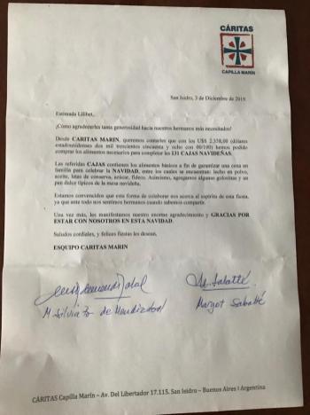Carta recibo de donacion de parte de Caritas Argentina