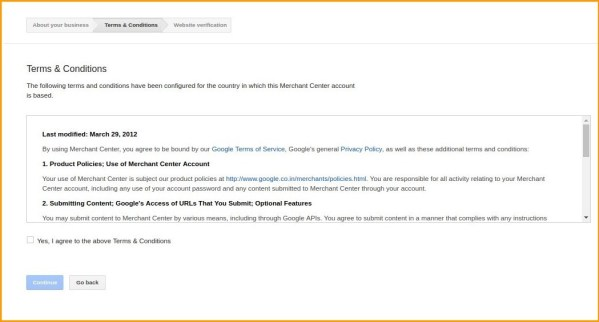 follow terms and conditions | google shopping action