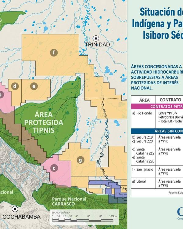 Áreas concesionadas a la actividad hidrocarburífera cerca del TIPNIS