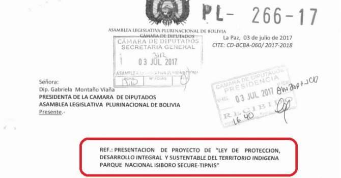 """Proyecto de ley 266-17 """"Protección, desarrollo integral y sustentable del TIPNIS"""""""