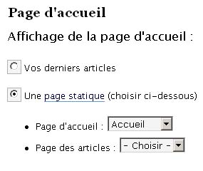 page accueil wordpress