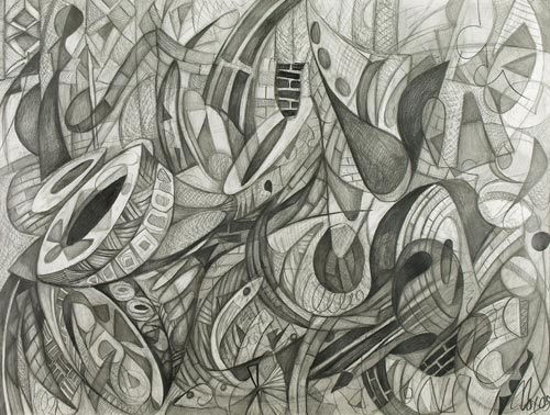 The Drummer by Cedric Cox, 40x30 inches, graphite on paper