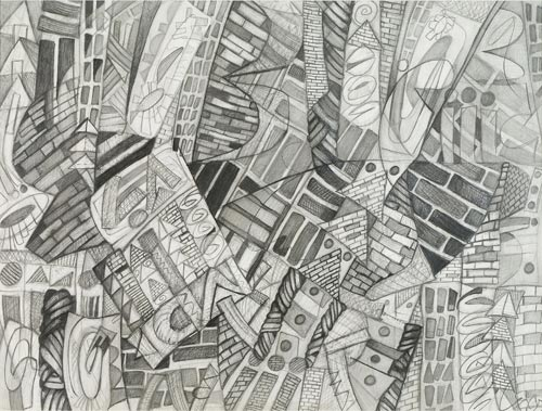 3rd Street Brick Pattern by Cedric Cox, 31x27 inches, graphite on paper