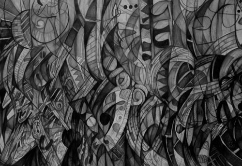 The Rapture by Cedric Cox, 60x40 inches, graphite on paper