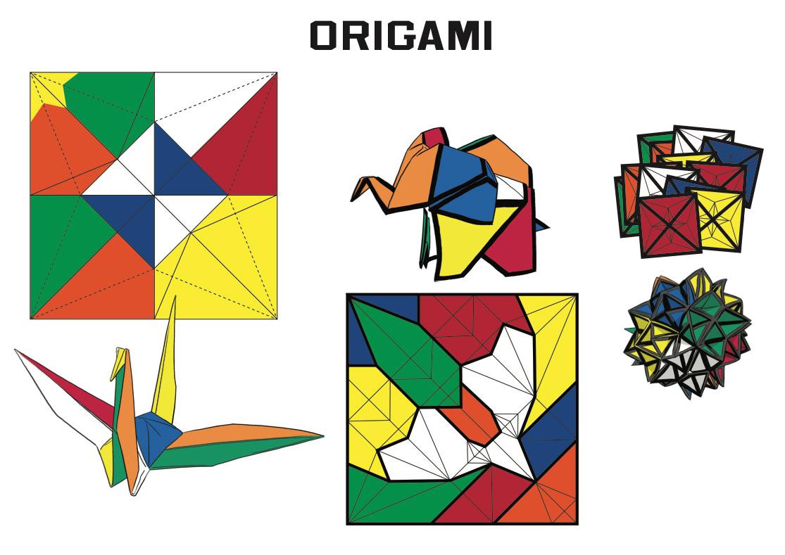 Smiley Rubik's Cube Origami Concept