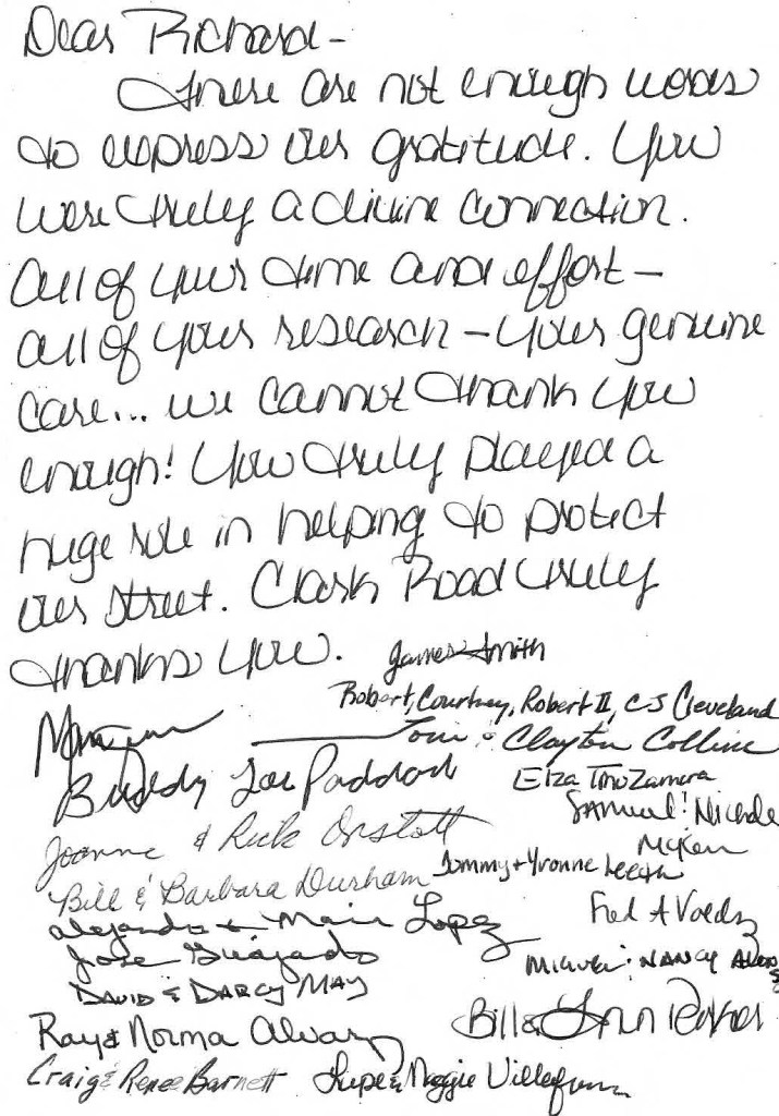 thank you letter to CEDS for preserving Clark Road from cut-thru traffic