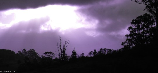 A beam in the Clouds - purple toned