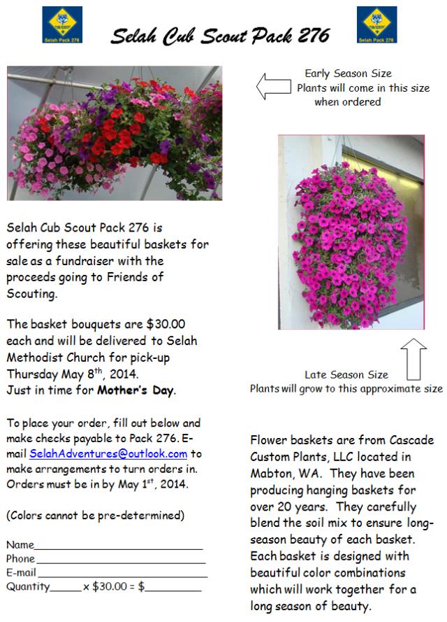 Selah Cub Scout Pack 276 Flower fundraiser