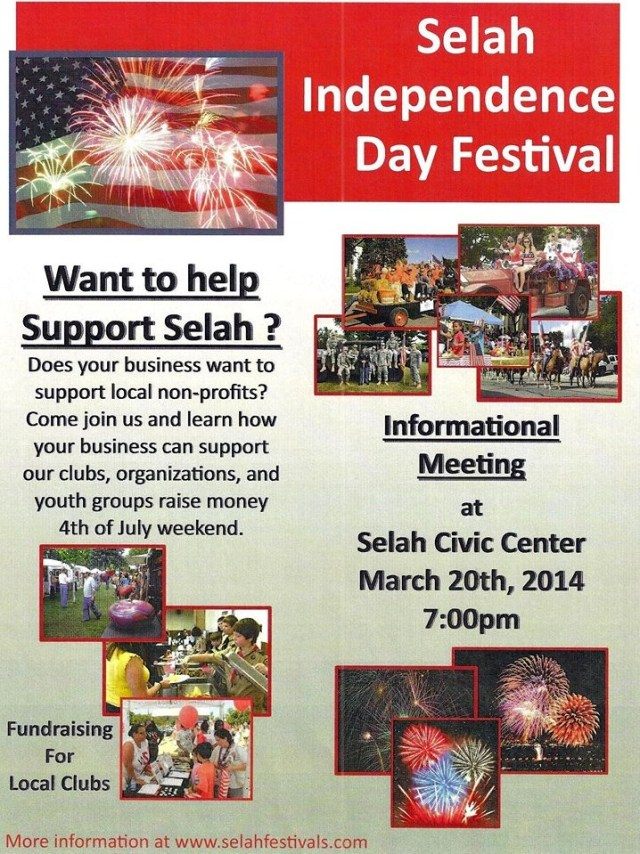 Upcoming: Selah Independence Day Booth Training & Sign ups - Mar 20 2014 1