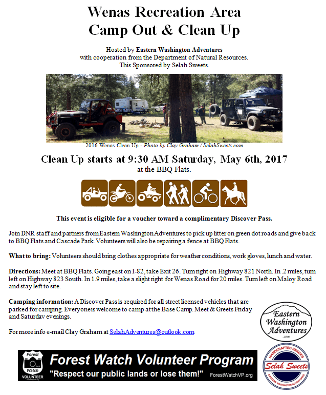 Wenas Recreation Area Camp Out & Clean Up