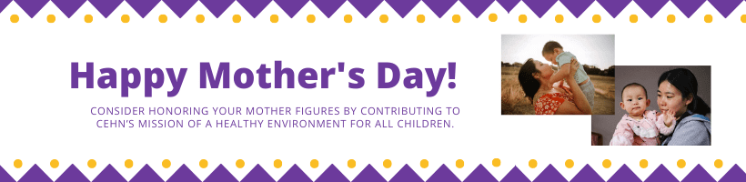 """Purple text """"Mother's Day Fundraiser"""" on a white background with yellow and purple geometric shapes around the border. Tot eh right fo the text are two pictures of mothers holding babies."""