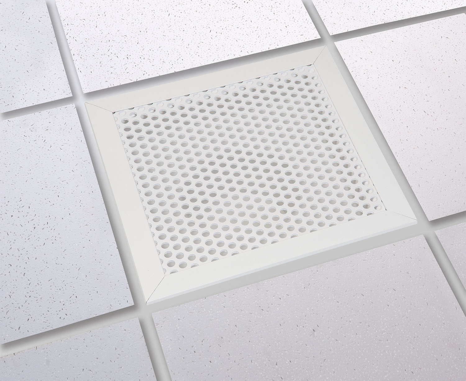 Grid Ceiling Return Air Grille : Air return ″ perforated hole pattern with recessed