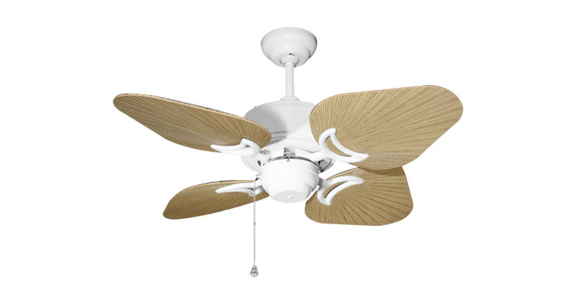 35 inch Bombay Pure White and Tan Ceiling Fan