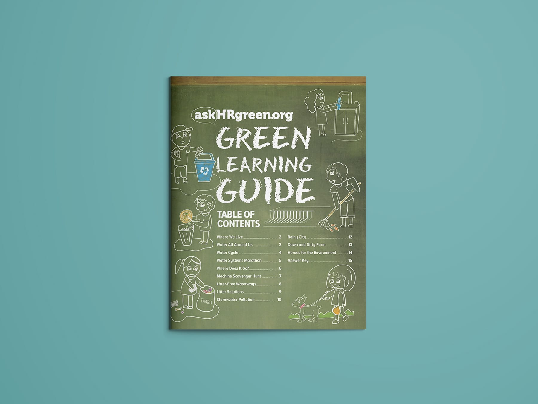 Green Learning Guide Cover with chalk illustrations