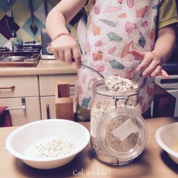 Compter le nombre de cuillères de flocons d'avoine