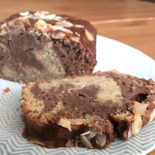 Marbré sain et délicieux chocolat-vanille