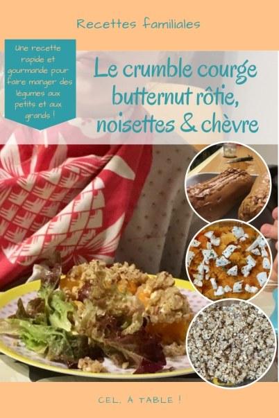 la recette de crumble courge butternut rôtie, noisettes et chèvre