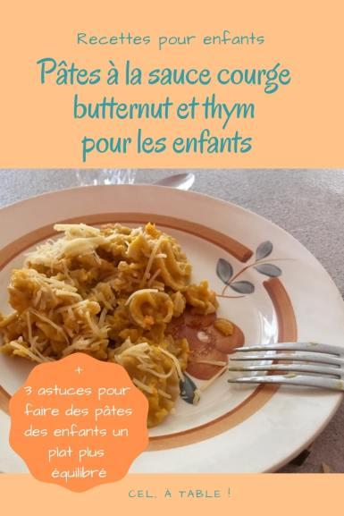 recette de pâtes à la sauce courge butternut et thym