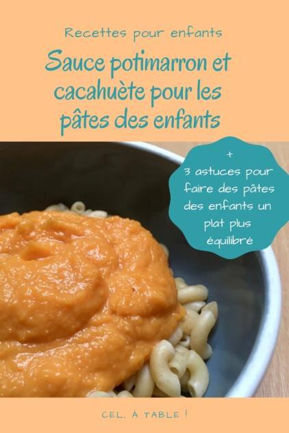 recette de sauce potimarron et cacahuète pour manger avec les pâtes des enfants
