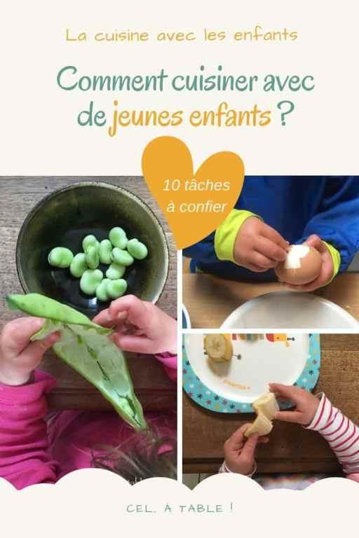 affiche de l'article sur comment cuisiner avec de jeunes enfants et 10 tâches à leur confier
