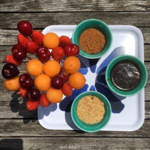 sucettes de fruits et fondue