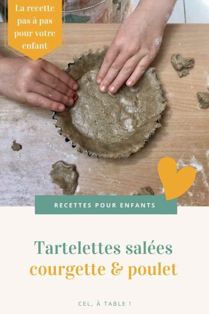 affiche de l'article sur la recette pour enfants de tartelettes salées courgette & poulet