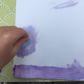 peinture violette à base de chou rouge qui devient bleue avec du bicarbonate de soude