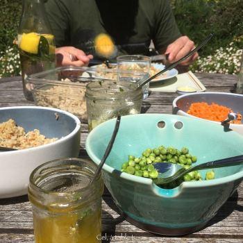 différents plats de légumes, de céréales et de sauce pour composer une assiette mosaïque