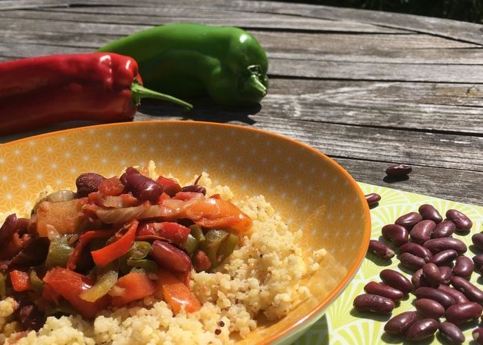 plat piperade-haricots rouges