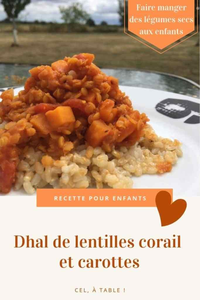 dhal de lentilles corail et carottes