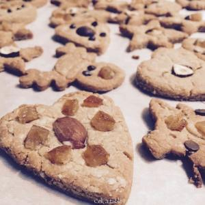biscuits de Noel décorés de fruits secs