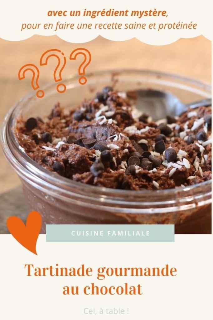 Tartinade gourmande au chocolat, avec un ingrédient mystère, pour en faire une recette saine et protéinée