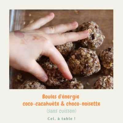 Boules d'énergie coco-cacahuète et choco-noisette