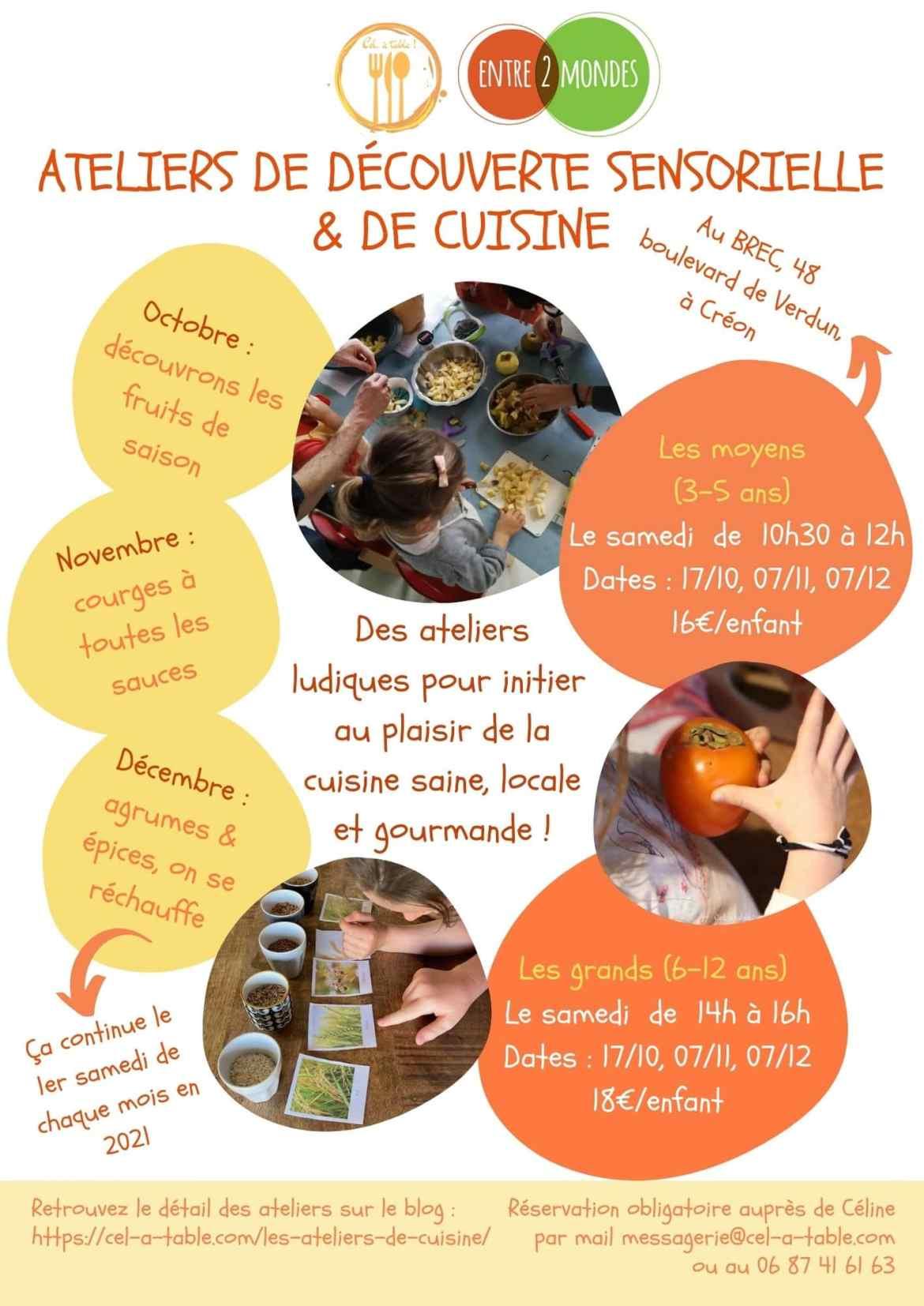 programme des ateliers de cuisine à Créon dans l'Entre-Deux-Mers