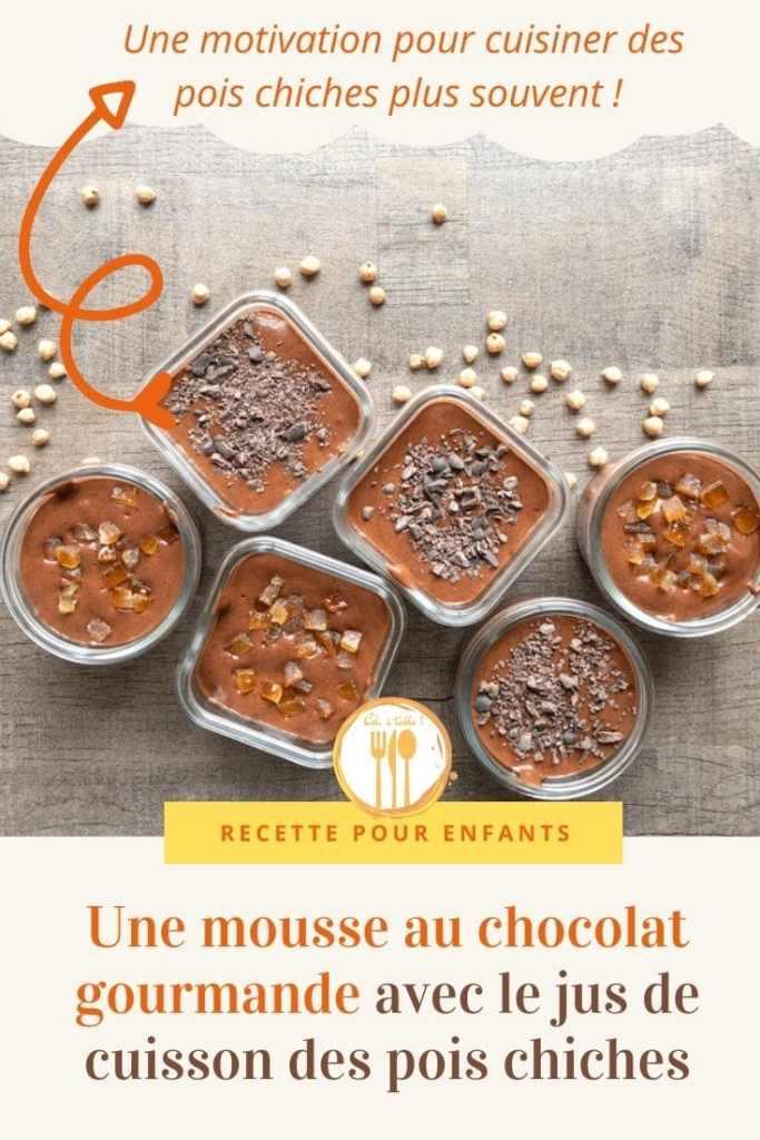 Une mousse au chocolat gourmande avec le jus de cuisson des pois chiches