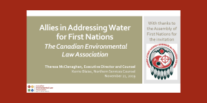 Allies in Addressing Water for First Nations