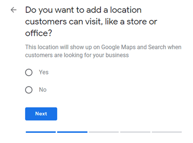 GMB add a physical location customers can visit.