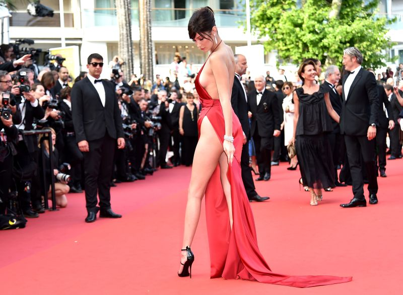 red gown worn by Bella Hadid