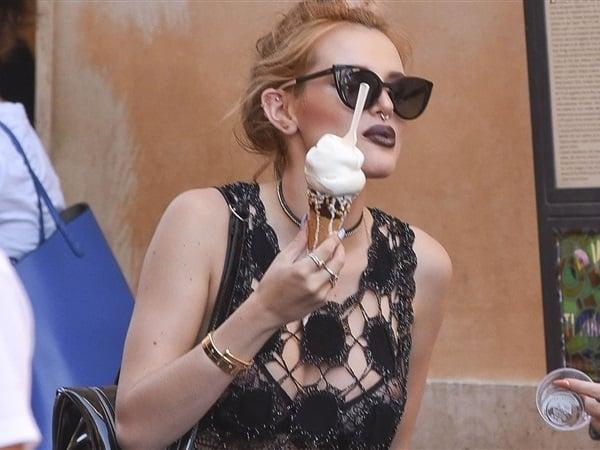 Bella Thorne Double Nip Slip In A See Thru Bra