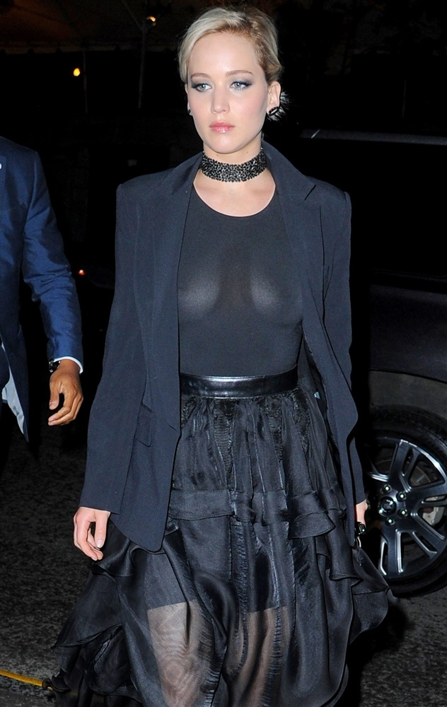 Jennifer Lawrence Takes Her Boobs Out In A See Thru Top