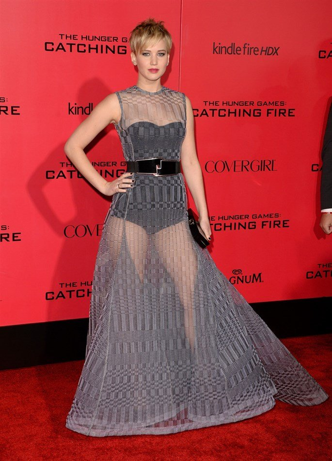 Jennifer Lawrence Leggy At LA Premiere Of 'Catching Fire'