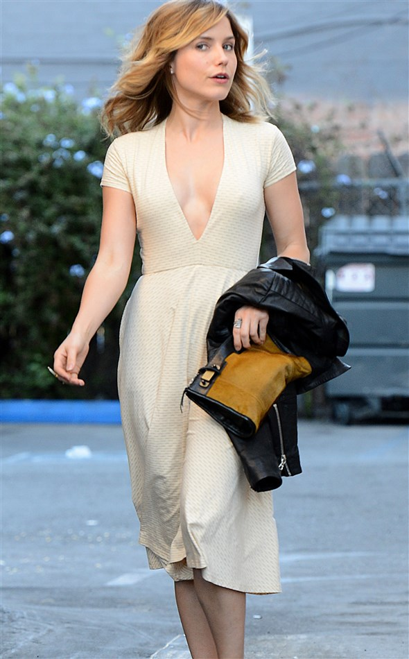 Sophia Bush Braless With Hard Nipples Out In LA